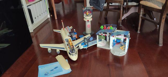 Playmobil avião, aeroporto, torre control, trem bagagem