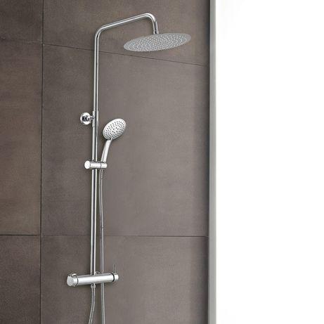 Rampa/ Coluna de duche cromada c/ chuveiro em aço inox anti-cal