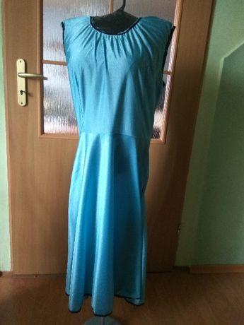 Sukienka PRL szyta ręcznie połysk lata 70 vintage retro rozmiar 40