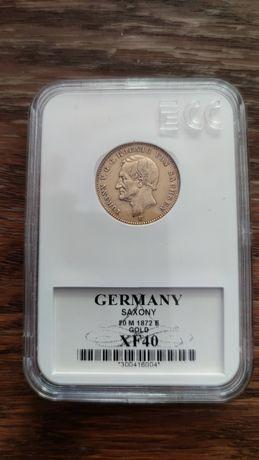 Złota Moneta 20 Marek 1872 Johann V.G.G. Koenig von Sachsen