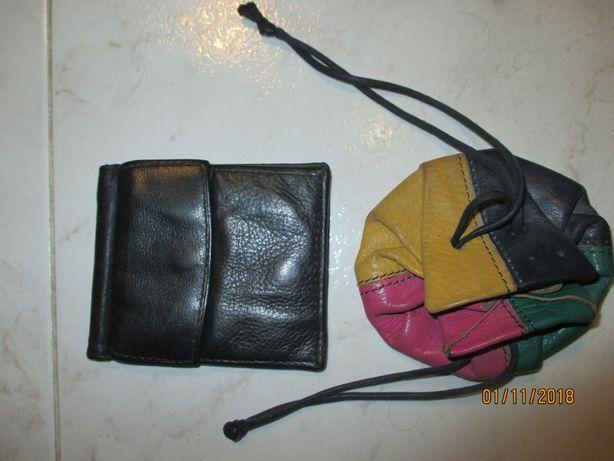 Mini carteira e 2 portas moedas antigos de pele
