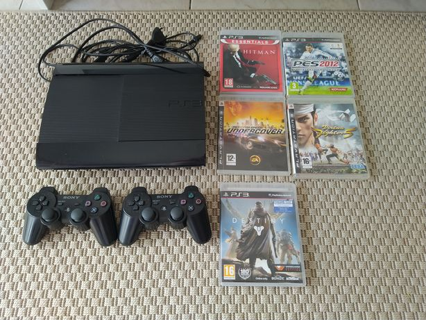 PS3 PlayStation 3 Super Slim 500GB + 2 comandos + jogos
