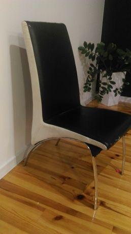 Krzesła do kuchni jadalni chrom ekoskóra 4