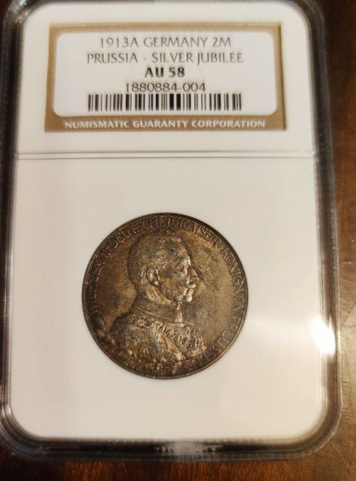 Moneta 2 Marki Wilhelm II Prusy Niemcy MAX NOTA W SKALI AU!! Sosnowiec - image 1