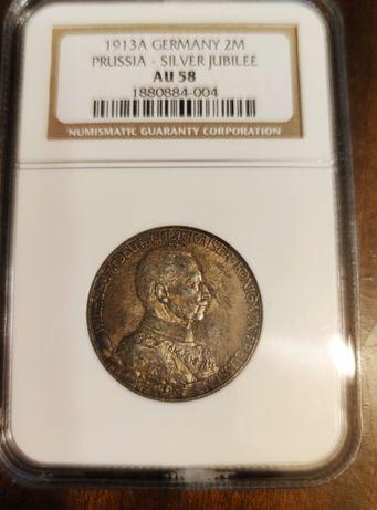 Moneta 2 Marki Wilhelm II Prusy Niemcy NGC MAX NOTA!! Srebro!!