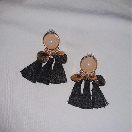 Kolczyki frędzle wiszące czarne