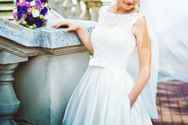 весільне плаття, айворі, атлас мікадо, S, 42