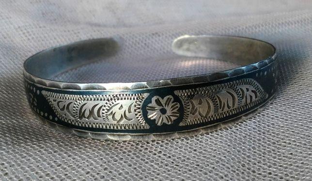 Браслет из СССР с чернью 875 пр. серебро
