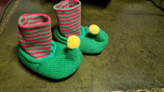 Пинетки , тапочки детские, детская обувь эльфа.  Новогодние