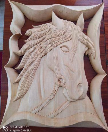 Płaskorzeźba, rzeźba, obraz, rękodzieło, drewniane, Koń , prezent