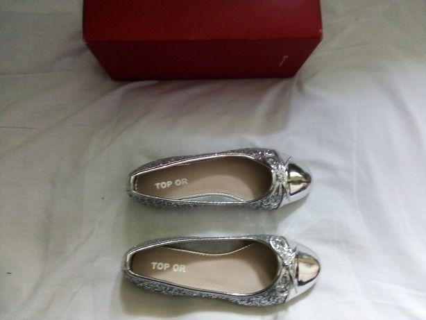 Baleriny, buty srebrne roz 37