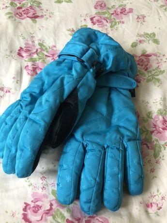 Niebieskie damskie rękawice zimnowe narciarskie