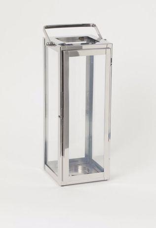 OKAZJA! Nowa latarnia Westwing srebrna srebro stal szkło świecznik XXL