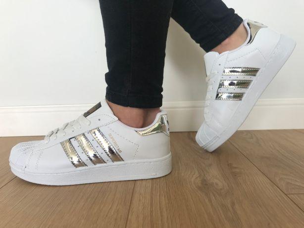 Adidas Superstar. Rozmiar 39. Białe - Srebrne paski. Super cena!