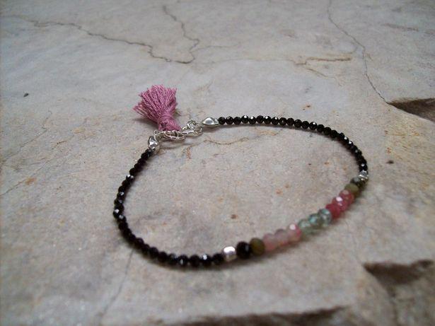 Bransoletka ze spinelu ,spinel ,rubin , piryt srebro 925