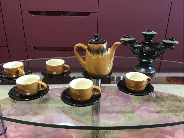 чайник чашки кофейные подсвечник керамика