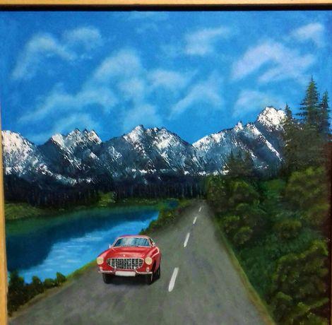 Obraz olejny samochód, auto, pejzaż górski. Volvo P1800 czerwone