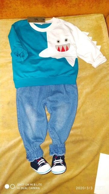 Новый Стильный костюм комплект для мальчика джинсы реглан