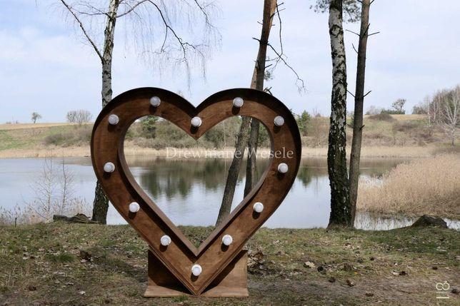 Rustykalne, oświetlane serce! Dekoracje na ślub, wesele