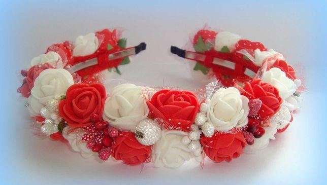 Обруч, ободок для волос. Обруч с цветами. Ободок с розами.
