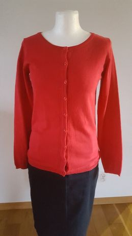 GREENPOINT czerwony kardigan r.36 sweter rozpinany