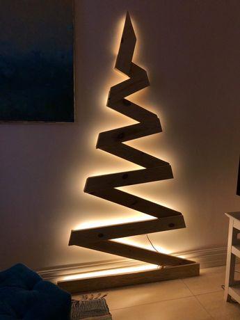 Деревянная новогодняя елочка «Зиг-Заг» с подсветкой в стиле лофт
