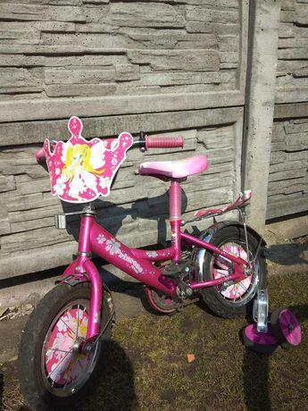 Велосипед дитячий для дівчинки з тренувальними колесами до 120 см