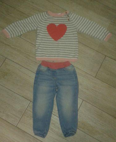 Sweterek H&M ,spodnie Lupilu- zestaw roz.92
