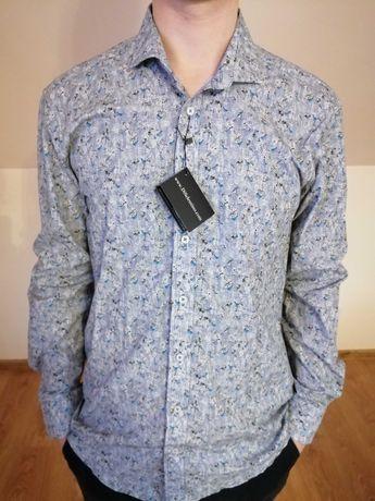 Koszula męska elegancka, wzory, długi rękaw, m. NOWA