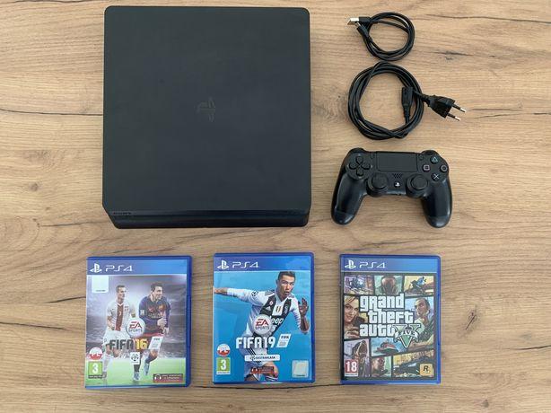 PS4 500GB Slim + 3 gry [GTA V, FIFA 16, FIFA19]