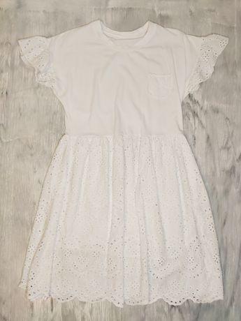 Sukienka biała Boho koronka