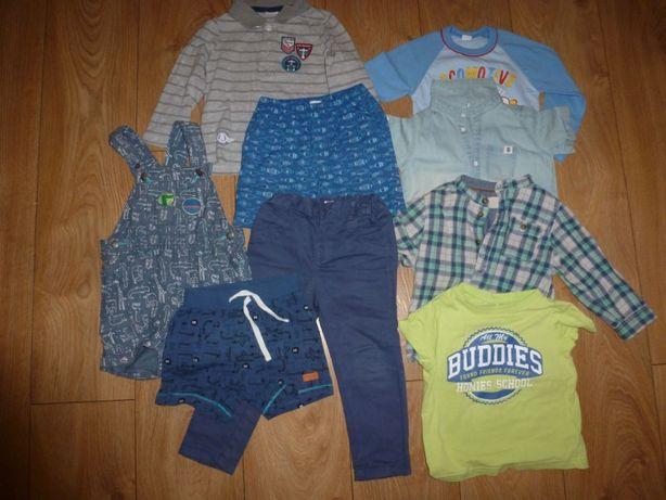 Zestaw ubrań spodenki spodnie koszula t shirt chłopiece dla chłopca 86