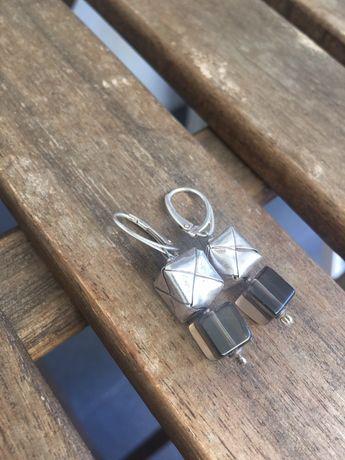 Kolczyki srebro i kryształ górski
