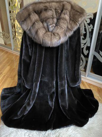 Норковая шуба с капюшоном из соболя, 115 см, blackglama 50-52, Греция
