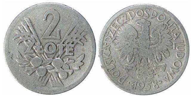 Монета 2 злотых (алюминий, Польша) 2 zlote 1958 год — редкая