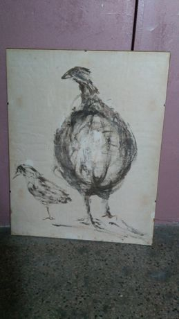 """Obraz """"Perliczka"""" kredka , pastel , papier , A. Kononowicz- Bosy , w"""
