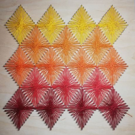 Kolorowa dekoracja, obraz do nowoczesnego wnętrza - String Art