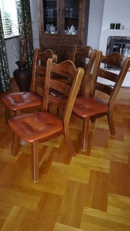 Krzesła 4 szt. komplet dębowe dąb skóra naturalna kasztanowa vintage