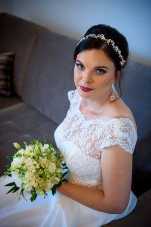 sukienka ślubna 38-40, 170 cm, koronka,muślin