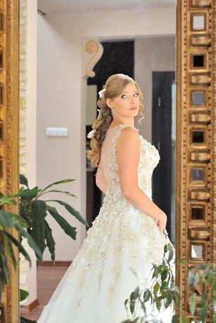 Luksusowa suknia ślubna Agora 16-08 roz. 40 ecru ivory gold