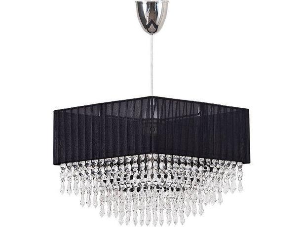 Kryształowa lampa wisząc abażur tkanina MODENA czarny Nowodvorski 4014