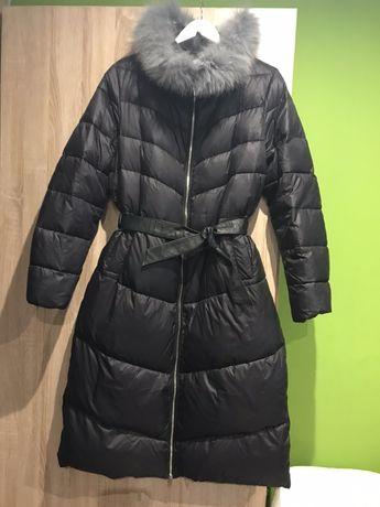 Płaszcz/kurtka puchowa z lisem- czarny r.42 nowy