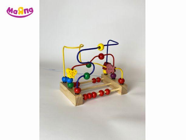 Деревянная игрушка пальчиковый лабиринт со счётами серпантин