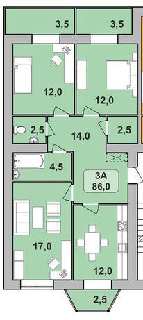 Центр міста,3-кімнатна квартра на 88м.кв.