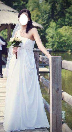 Piękna Suknia Ślubna z welonem, szalem i halką