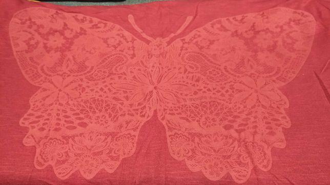 Bluzka krótki rękaw, nadruk motyl, lekka, rozmiar 42-44