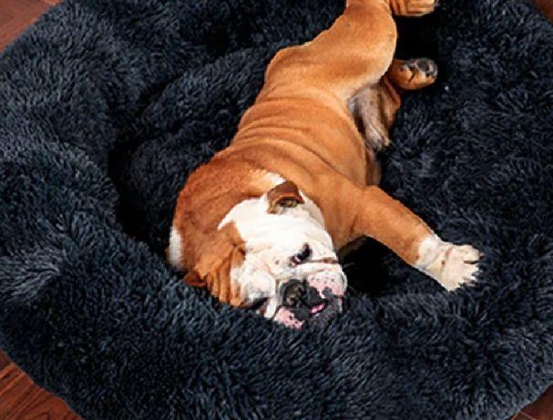Лежак пуфик для котов для собак меховой, размер l круглый лежанка
