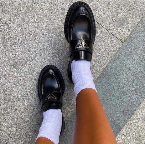 Женские Туфли Лоферы Prada/Прада/Натуральная Кожа 100%/Без предоплаты