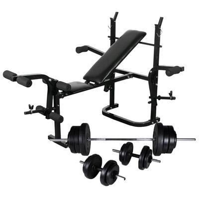 Banco musculação c/ suporte p/ pesos + barras e halteres 60,5kg
