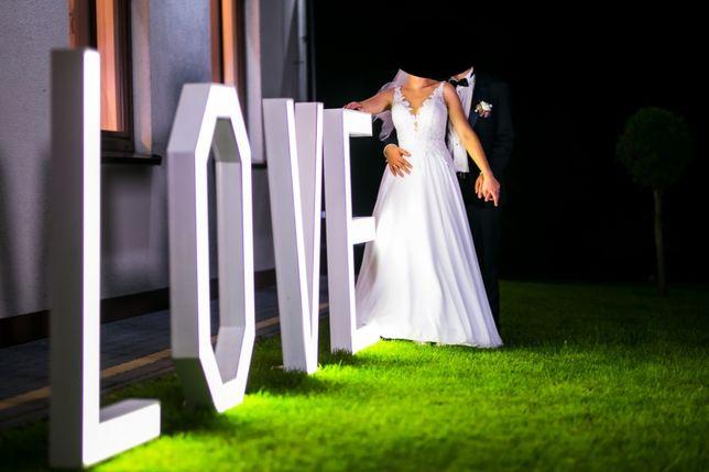 Napis, litery LOVE, LED, dekoracja, Ślub